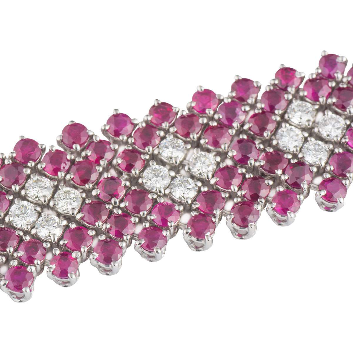 White Gold Diamond and Ruby Bracelet